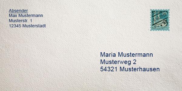 Briefe Beschriften Deutsche Post : Brief beschriften