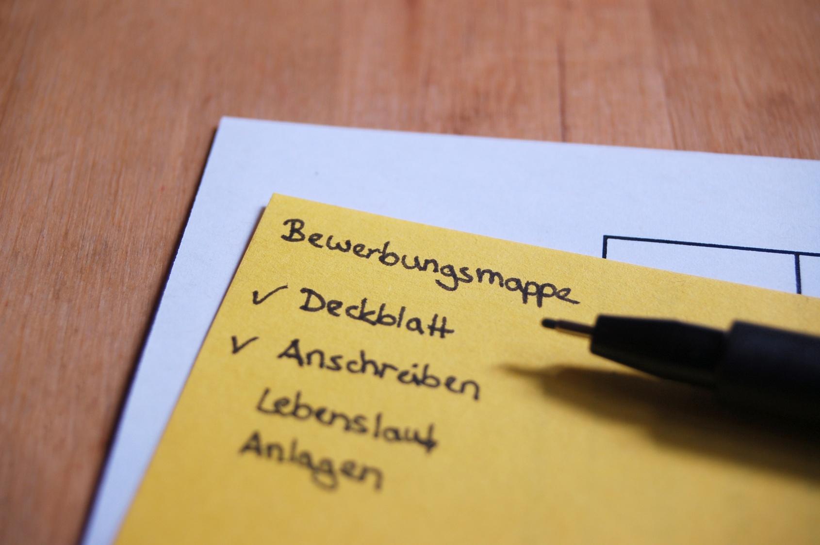 Checkliste als Beitragbild für das Musterdokument - Deckblatt Bewerbung