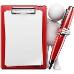 Symbol für den Geschäftsbrief Aufbau: Figur mit Stift, Klemmbrett, leerem Blatt