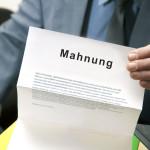 Die Mahnung Vorlage in Aktion: Brief mit Titel Mahnung