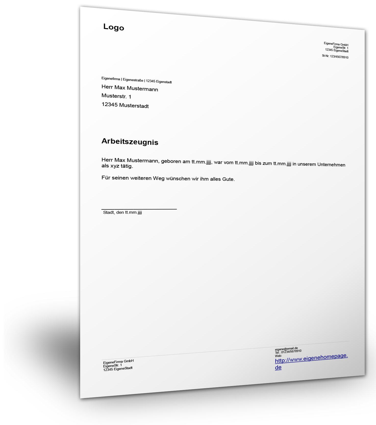 einfaches arbeitszeugnis - Arbeitszeugnis Schreiben Muster